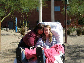 First time outside after surgeries while at hospital in Arizona