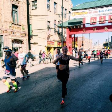 Kapsner running the Chicago Marathon