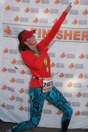 Nitchals after completing the Twin Cities Marathon